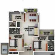 PBEL City Chennai Floor Plan 1033 Sqft. 2 BHK