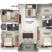 PBEL City Chennai Floor Plan 1518 Sqft. 3 BHK