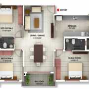 PBEL City Chennai Floor Plan 1425 Sqft. 3 BHK