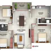 PBEL City Chennai Floor Plan 1505 Sqft. 3 BHK