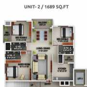 PBEL City Chennai Floor Plan 1538 Sqft. 3 BHK