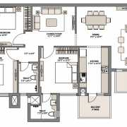 Emaar Palm Gardens Floor Plan 1900 Sqft. 3 BHK+L+S