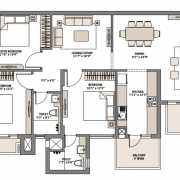 Emaar Palm Gardens Floor Plan 1950 Sqft. 3 BHK+L+S