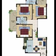Agrasain Aagman Floor Plan 629 Sqft. 3 BHK
