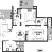Godrej Meridien Floor Plan 1004 Sqft. 2 BHK