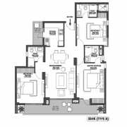 Godrej Meridien Floor Plan 95.23 Sqft. 3 BHK