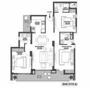 Godrej Meridien Floor Plan 1368 Sqft. 3 BHK