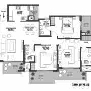 Godrej Meridien Floor Plan 104.01 Sqft. 3 BHK + Servant