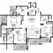 Godrej Meridien Floor Plan 113.97 Sqft. 3 BHK + Servant.