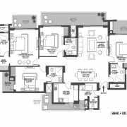 Godrej Meridien Floor Plan 153.95 Sqft. 4 BHK + Servant