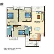 Horizon Anant Floor Plan 1498 Sqft. 3 BHK