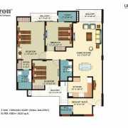 Horizon Anant Floor Plan 1825 Sqft. 3 BHK