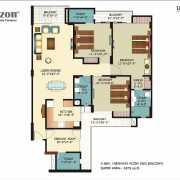 Horizon Anant Floor Plan 1875 Sqft. 3 BHK