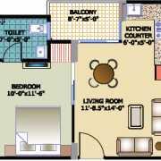 Horizon Anant Floor Plan 524 Sqft. 1 BHK