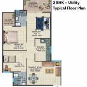 Conscient Habitat 78 Floor Plan 630 Sqft. 2 BHK+Utility