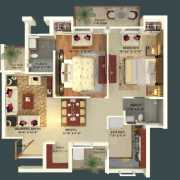 GBP Athens Floor Plan 1138 Sqft. 2 BHK