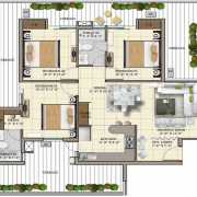 APS Highland Park Floor Plan 1650 Sqft. 3 BHK