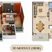 Vilasa Taruchaya Residency Floor Plan 851 Sqft. 1 BHK