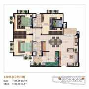 Mahima Bellevista Floor Plan 1396.26 Sqft. 3 BHK Corner