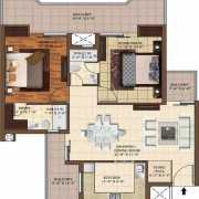 The Hermitage Park Floor Plan 1275 Sqft. 2 BHK