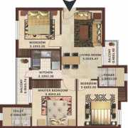 Excella Kutumb Floor Plan 1095 Sqft. 3 BHK