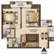 Excella Kutumb Floor Plan 900 Sqft. 2 BHK