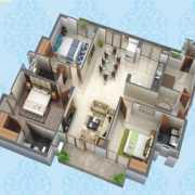 Purvanchal Kings Court Floor Plan 1348 Sqft. 3 BHK