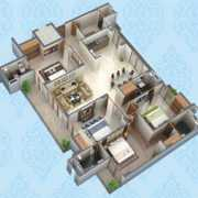 Purvanchal Kings Court Floor Plan 1680 Sqft. 4 BHK