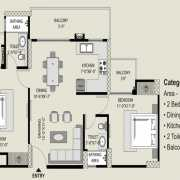 Exotica Fresco Floor Plan 1110 Sqft. 2 BHK