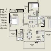 Exotica Fresco Floor Plan 1250 Sqft. 2 BHK + Study