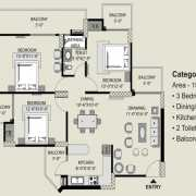 Exotica Fresco Floor Plan 1560 Sqft. 3 BHK + 2T