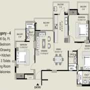 Exotica Fresco Floor Plan 1690 Sqft. 3 BHK + 3T