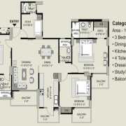 Exotica Fresco Floor Plan 1835 Sqft. 3 BHK + Study + 4T