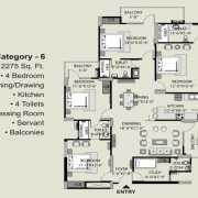 Exotica Fresco Floor Plan 2275 Sqft. 4 BHK + Study + 4T