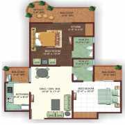 Ajnara Ambrosia Floor Plan 1095 Sqft. 2 Bhk