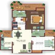 Ajnara Ambrosia Floor Plan 1255 Sqft. 2 Bhk