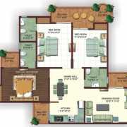 Ajnara Ambrosia Floor Plan 1650 Sqft. 3 Bhk