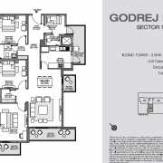 Godrej Nest Noida Floor Plan 126 Sqft. 3 BHK + Store + Utility (Iconic Tower)