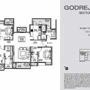 Godrej Nest Noida Floor Plan 150 Sqft. 4 BHK + Utility (Iconic Tower)