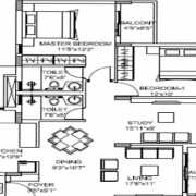 Godrej E City Phase 3 Floor Plan 1196 Sqft. 2.5 BHK