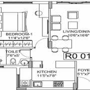 Godrej E City Phase 3 Floor Plan 638 Sqft. 1 BHK