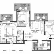 Godrej Nature Plus Floor Plan 86 Sqft. 3 RHK