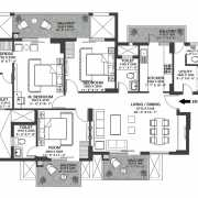 Godrej Nature Plus Floor Plan 107.70 Sqft. 3 BHK/3 RHK+Utility (Type A)