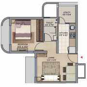 Lodha Move Up Floor Plan 351 Sqft. 1 BHK
