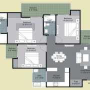 Gulshan Ikebana Floor Plan 1495 Sqft. 3 BHK