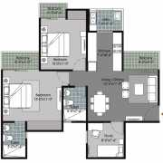 Gulshan Vivante Floor Plan 1080 Sqft. 2 BHK + 2T + Study
