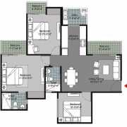 Gulshan Vivante Floor Plan 1175 Sqft. 3 BHK + 3T (Small)