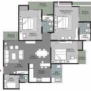 Gulshan Vivante Floor Plan 1560 Sqft. 3 BHK + 3T + Study