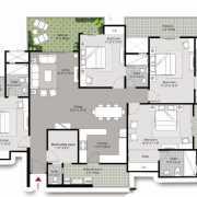 Gulshan Vivante Floor Plan 2645 Sqft. 4BHK + 4T + Multi utility room