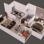 Provident Capella Floor Plan 570 Sqft. 1 BHK